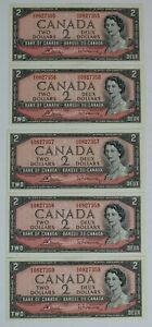 1954 BANK OF CANADA $2 DOLLAR DG 0827355-59 CONSECUTIVE SERIAL NUMBERS UNC NOTES