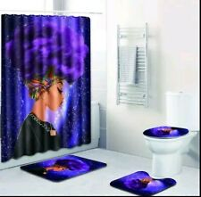 African Queen Purple Afro Bathroom Shower Curtain Toilet Seat Cover Rug Set