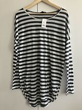 Gorgeous Women's Banana Republic Charcoal Grey & White Striped Long Sleeve Top M