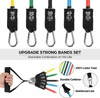 11PC Resistance Bands Set, 150 LBS Exercise Workout Bands