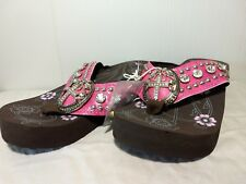 "Montana West Pink 2"" Brown Wedge Soul Cross Bling Flip Flops Sandals Size 9"