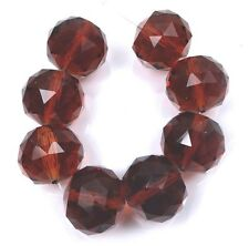 20mm Large Dark Topaz Glass Quartz Faceted Round Ball Focal Beads