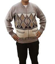Mens Grandad Gents ZIPPER Argyle Knit Diamond Design Zip up Pocket Cardigan Size M Beige