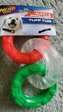 Nerf Dog Ultra Tough 3 Ring Tug Toy HOLIDAY EDITION Puppy Small Red clear Green