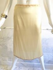 VINTAGE PRADA 38 SILK DESIGNER BEADED SLIP SKIRT EMBELLISHED ITALY BEADS