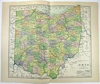 Original 1882 Map of Ohio by Phillips & Hunt