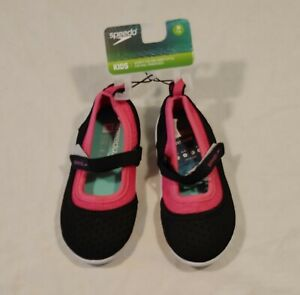 Speedo Youth Girls Water Shoes Mary Jane Style M-7-8 - Black Pink - New