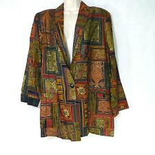 Vintage Kensington Square Blazer Jacket Women Size L Gold Red One Button NEW