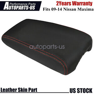 Leather Center Console Lid Armrest Cover Skin for Nissan Maxima 09-14 Red Stitch