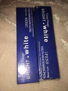 Lot Of 2 Venus Visage Bright White Teeth Whitening Pens Two Pack N S