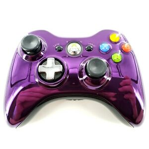 Official Microsoft Xbox 360 Chrome Purple Wireless Controller 1403 OEM Tested
