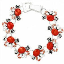 Red Crab Charm Fashionable Chain Bracelet - Hand Painted - Magnetic Clasp