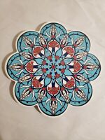 Ceramic Tile Blue Floral Hot Plate Trivet Round Scalloped Made In Turkey