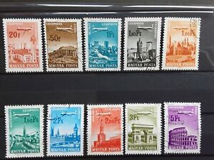 Hungary 1966 -  Air Mail - part set of 10 used stamps