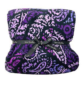"Vera Bradley Paisley Amethyst 80"" x 50"" Plush Throw Blanket Purple Cozy"