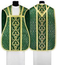 Green Roman Fiddleback Chasuble, stole, maniple, burse & chalice veil R023-Z14