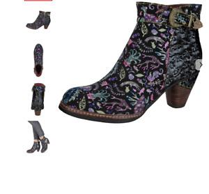 LAURA VITA Damen Stiefelette extravaganter Ausführung Gr. 37 Schwarz-Pink Neu