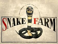 "TIN SIGN ""Snake Farm ""  Reptiles Art Deco Garage Wall Decor"