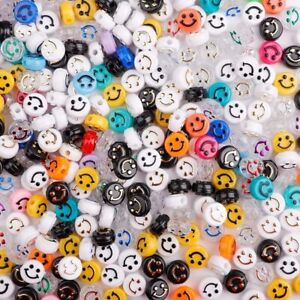 Multicolor 6x10mm Smile Smiley Happy Face Acrylic Rondelle Beads Jewelry Making