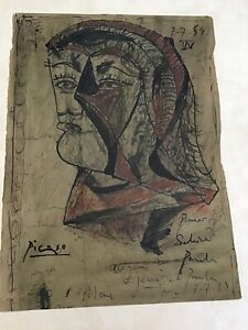 Vintage Picasso Painting Of A Bust Of A Person Signed & Dated 7.7.59