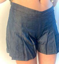 NEW TRINA TURK Indigo Blue Flat Front Pleated Lightweight Fit Flare Shorts, SZ 2