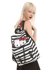 NEW Hello Kitty Cat Backpack Slouch School Book Bag Black White Stripe San Rio