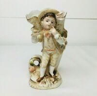 Vintage Porcelain Small Flower Vase Boy Playing Flute Decor Victorian