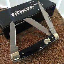 """BOKER PLUS Stockman Folding Pocket Knife 3 1/4"""" Black Handles NEW BO234B -E"""