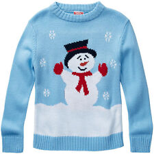 Baby Toddler Boys Cute Snowman Snowflakes Christmas Novelty Knitted Jumper Blue