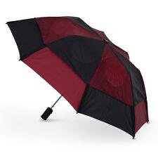 GustBuster Metro Auto Vented Folding Umbrella - Black & Burgundy