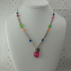 """Brighton Multi Color Glass Bead Pink Heart Charm Pendant 18 1/2"""" Necklace"""