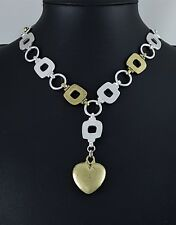 Matt Silver Antiqued Brass Link Squares and Loops Heart Charm Choker Necklace