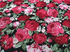 Stoff Baumwolle Popeline Rosen rot rosa oliv schwarz Blusenstoff Kleiderstoff