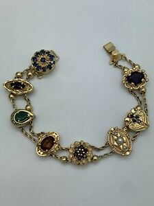 14k Yellow Gold Gemstone & Diamonds Slide Charm Bracelet 8 Charms Slider