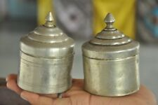 2 Pc Old Brass Handcrafted Unique Shape Fine Quality Powder Boxes