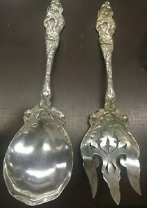 Reed & Barton Sterling Silver Serving Spoon & Fork Simply Beautiful 10.5 Inch 3D
