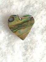 1980s Abalone Shell Pendant Heart Vintage Retro Jewellery Jewelry Old Love