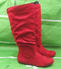 New ladies Womens Red Flat Slouch Round Toe elastic back Sexy Knee Boot Size  7