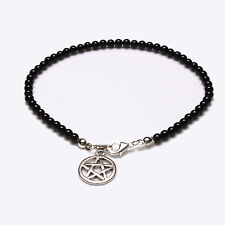 Sterling Silver Black Onyx and Tibetan Silver Pentagram Anklet