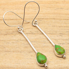 ! Silver Plated Jewelry Astonishing Beautiful Green Copper Turquoise Earrings