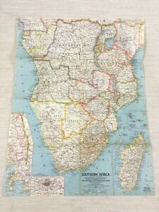 1962 Vintage Map of South Africa African Continent Original National Geographic