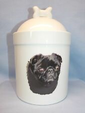 Black Pug Dog Porcelain Treat Jar w/Bone on top Fired  Decal on Front 8 In Tall