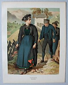Trachten, Österreich, Vorarlberg, Klosterthal - Lithographie Kretschmer 1871