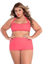Unbranded Polyester Halterneck Plus Size Swimwear for Women