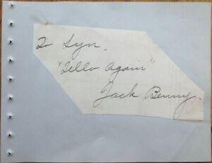 JACK BENNY Autograph 1930s Signed-Album Page - Actor/Comedian/Vaudevillian/Radio