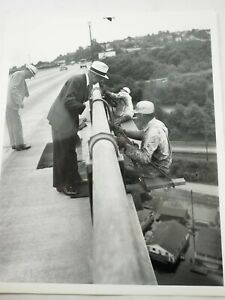 "Vintage Crime Scene Photo Detectives Looking for Evidence on Bridge B&W 8 x 10"""