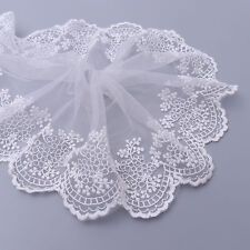 2 Yards Embroidered Floral Tulle Lace Trim Edge Mesh Net Wedding Sewing Craft