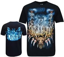 Wolf Pack Biker animal Indio Nativo Americano T Shirt, impresión frontal y trasero M-3XL