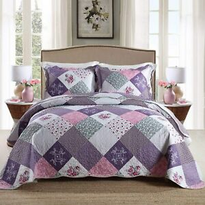 Purple Pink Floral Patchwork 3 pc Quilt Coverlet Set Full Queen King Bed Country