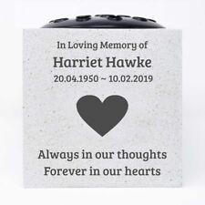 Personalised Customised Memorial Graveside Flower Rose Bowl Vase and Black Heart